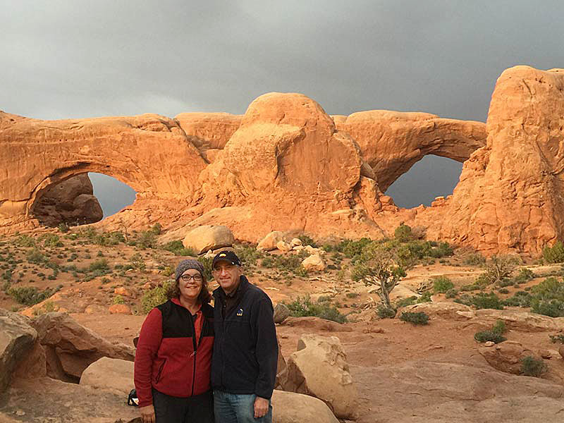 Sheldon and Linda Siegel at Arches National Park.