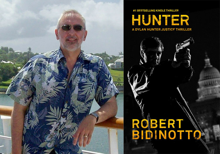 "Author Robert Bidinotto and the cover of his vigilante thriller ""Hunter."""