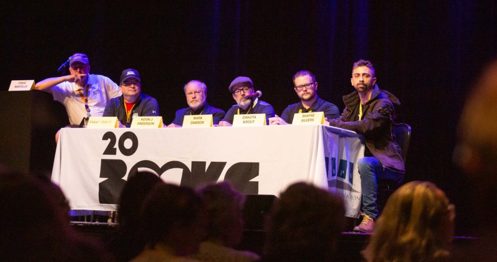 Craig Martelle, Michael Anderle, Kevin J. Anderson, Mark Dawson, Dakota Krout & Shayne Silvers during the last panel at 20Books Vegas.